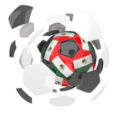 3d rendering Mexico soccer ball on white  background photo
