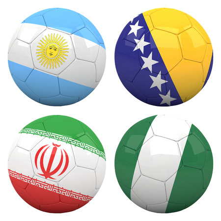 3D soccer balls with group F teams flags, Football Brazil 2014. isolated on white photo