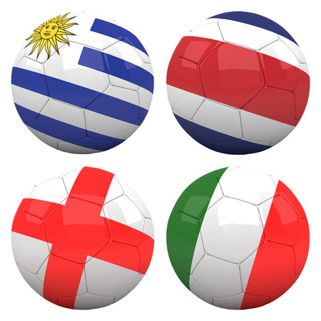 3D soccer balls with group D teams flags, Football Brazil 2014. isolated on white photo