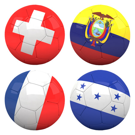 cameroonian: 3D soccer balls with group E teams flags, Football Brazil 2014. isolated on white