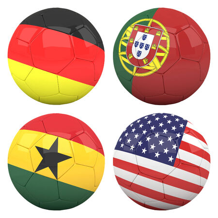 cameroonian: 3D soccer balls with group G teams flags, Football Brazil 2014. isolated on white