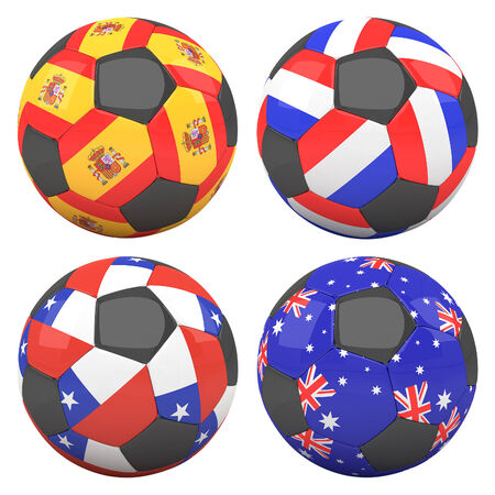 3D soccer balls with group B teams flags, Football Brazil 2014. isolated on white photo