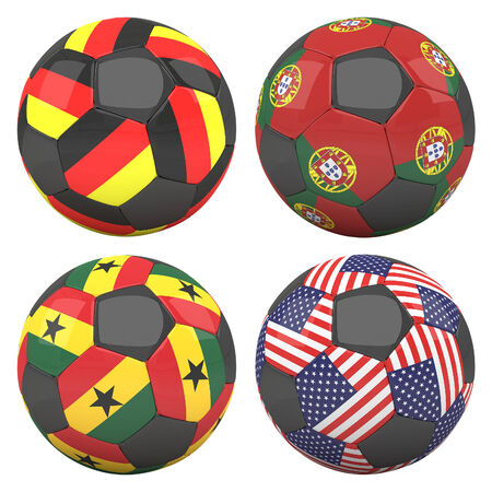 3D soccer balls with group G teams flags, Football Brazil 2014. isolated on white photo
