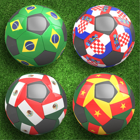 3D soccer balls with group H teams flags, Football Brazil 2014. isolated on white photo