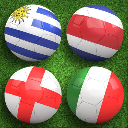 3D soccer balls with group H teams flags photo