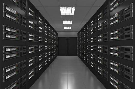 3d Modern interior of server room 스톡 콘텐츠