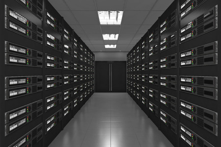 3d Modern interior of server room Standard-Bild