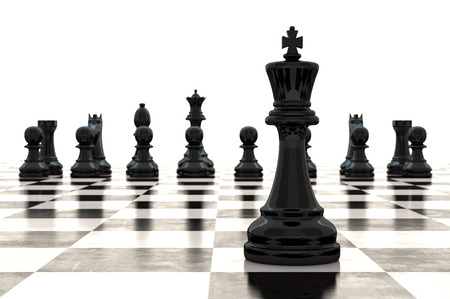 strategy decisions: 3d rendering chess pieces on glossy chessboard Stock Photo