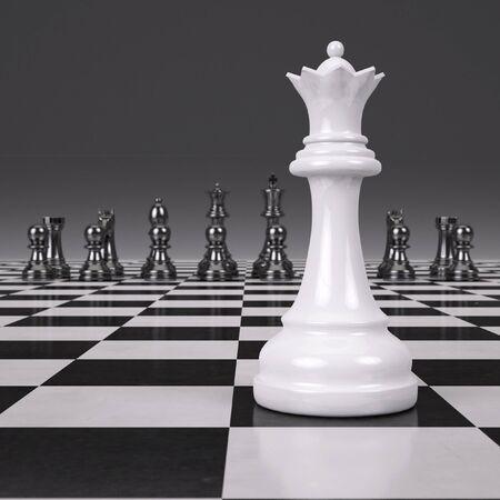 3d rendering chessmen on glossy chessboard Stock Photo