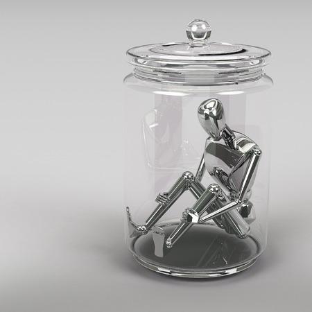 suffocating: 3d rendering Businessman inside a glass jar