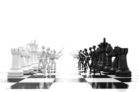3d rendering of fighting chess Stock Photo