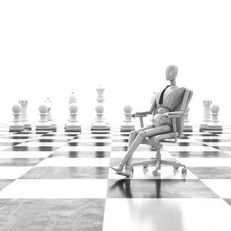 chessman: 3d rendering businessman sitting on chair, leader of chessman