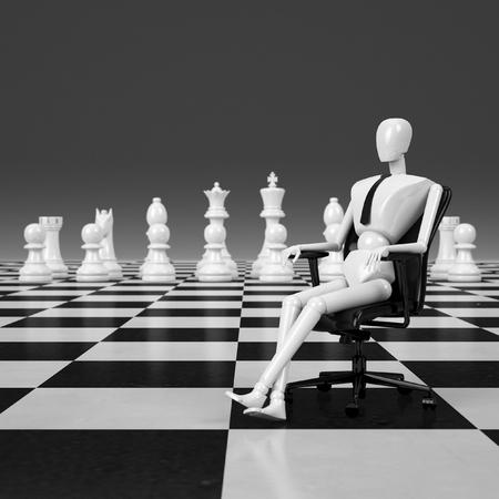 chessman: 3d rendering businessman sitting on chair leader of chessman