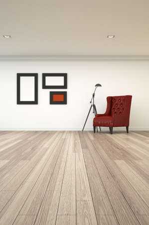 3d rendering interior of light on wall