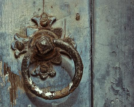 door knocker: Detail of an old door knocker