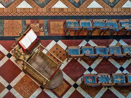 lectern: Overhead view of Lectern at Gloucester Cathedral Stock Photo
