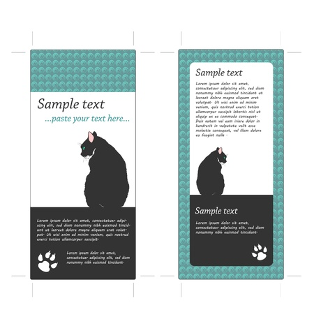 pet shop: Two Sided Rack Card with Cat, incl. Crop Marks
