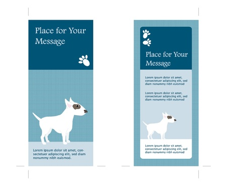 bull terrier: 4X9 - Two Sided Card with Dog theme, marks for cut, place for your text, company information, icons etc. Vector  Illustration