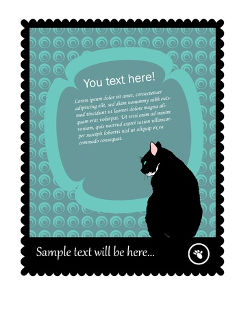 Stamp with Kitty Vector, with place for your Business Text  Vector