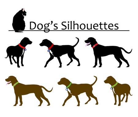 white tail: Set di Vector Silhouettes del cane Vettoriali