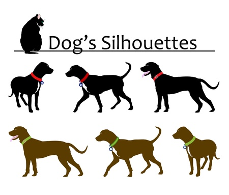 dog and cat: Set of Dogs Silhouettes Vector Illustration