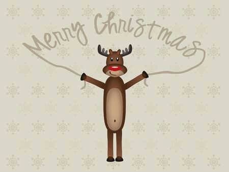 Funny Reindeer on Xmas Wish Card Vector