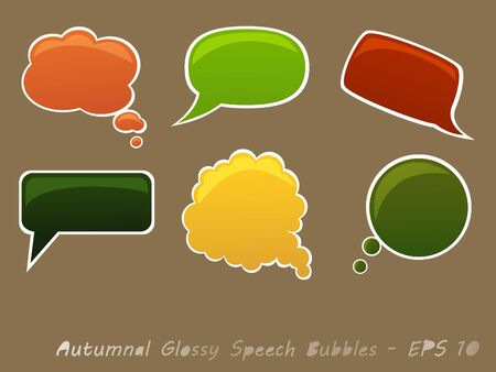 Set of Autumnal Glossy Speech Bubbles Vector