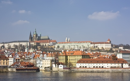 View from Charles Bridge to Church, Prague, Czech Republic, early spring  photo