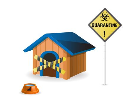 Quarantine the dog's shelter. concept of quarantine during the COVID-19 coronavirus pandemic.Concept of home security or dog shelter.