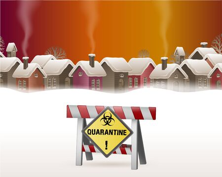 People cannot enter the village because there is a virus. Quarantine concept where there is a prohibition of others from entering the village. Vector illustration.