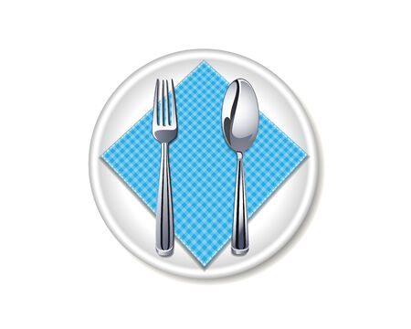 Set cutlery of fork, spoon, napkin and plate. Vector illustration on white background.