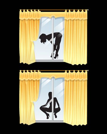 Woman silhouette seen through the window. and attractive woman behind curtains. Vector illustration.