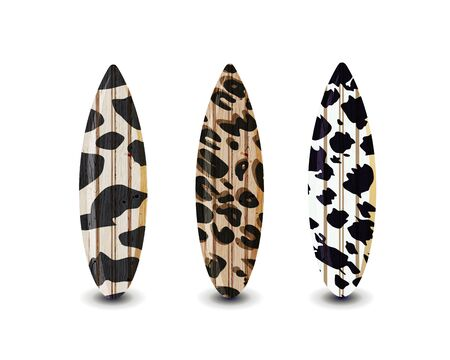 Surfboards set with different bright and unusual pattern designs. Realistic style. Vector illustration. Isolated on white background.