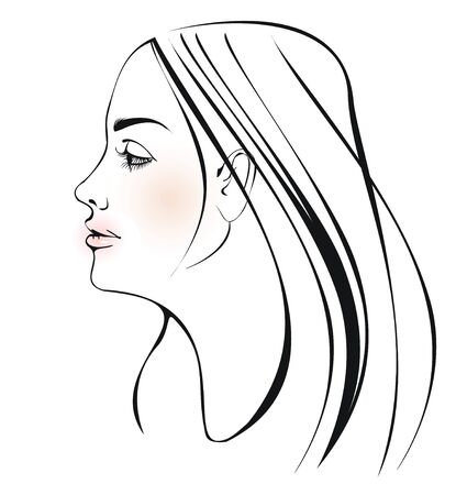withe: girl face Illustration