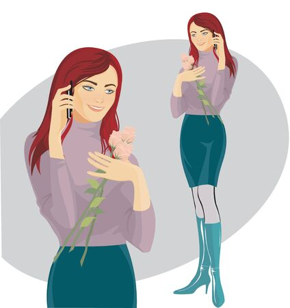 beautiful girl in lilac sweater with a mobile phone  Illustration