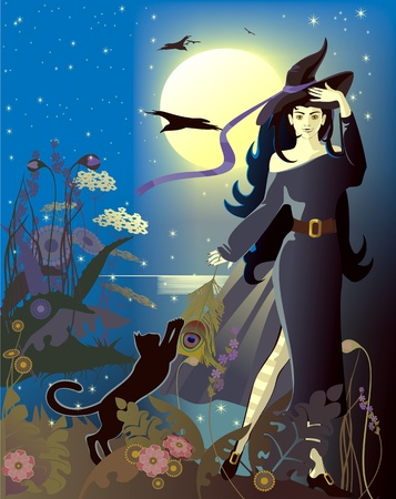 full moon, witch, halloween