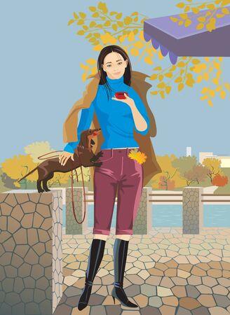 morning walk: beautiful girl with a pet embankment walking