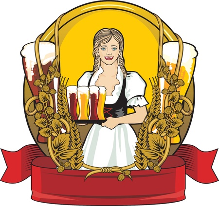 beer festival, beautiful waitress Illustration