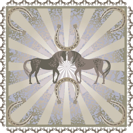 horse  ornament  pattern retro pastel color