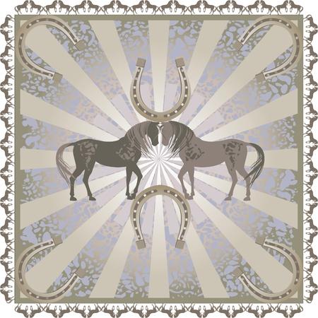 horseshoe vintage: horse  ornament  pattern retro pastel color