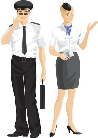 pilot: Stewardess und Pilot-Uniform
