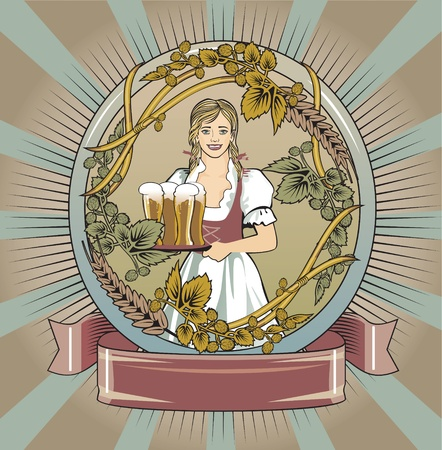 beer label, beer waitress Illustration