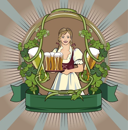 green beer waitress Illustration