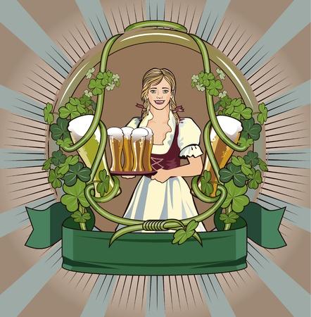 label circular: green beer waitress Illustration