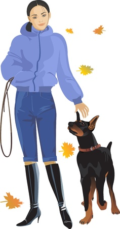 fall, girl, dog