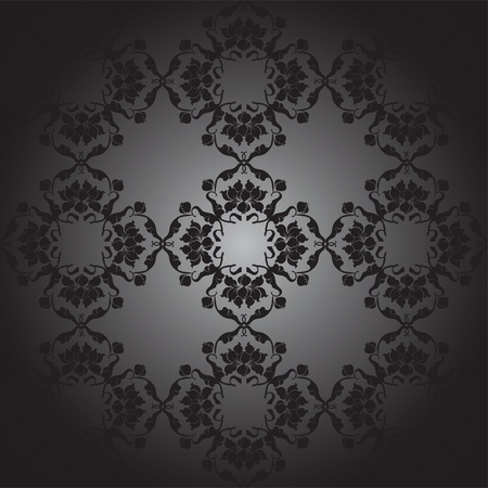 lotus pattern black, black gradient Illustration