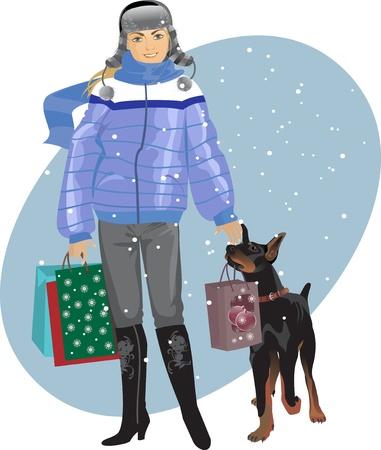 wintermode: Neujahr Shopping, M�dchen mit einem Hund Illustration