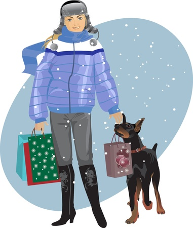 winter fashion: New Year shopping, girl with a dog