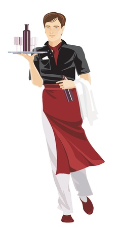 restaurant waiter in uniform Illustration