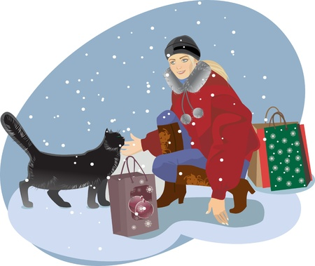 winter cat and shopping girl Vector